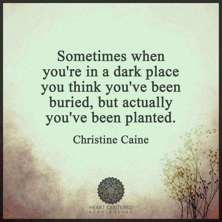 Sometimes when you're in a dark place you think you've been buried, but actually you've been planted. - Christine Caine