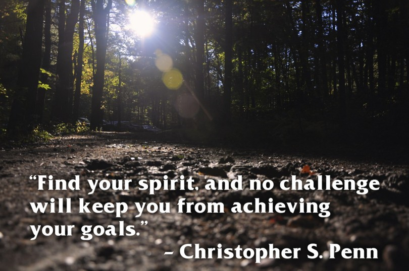 Find your spirit, and no challenge will keep you from achieving your goals. - Christopher S. Penn