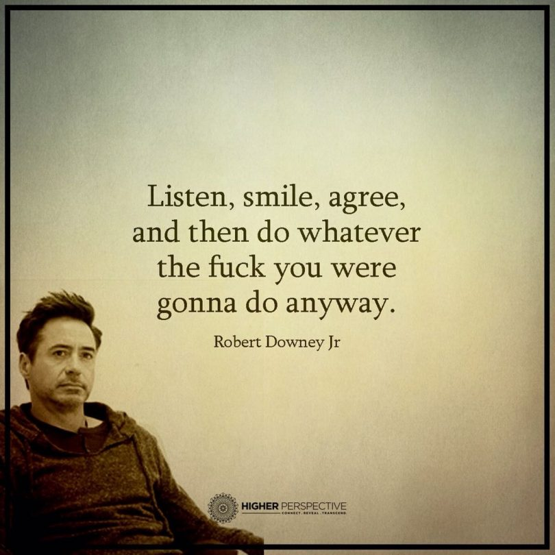 Listen, smile, agree, and then do whatever the fuck you were gonna do anyway. - Robert Downey Jr.