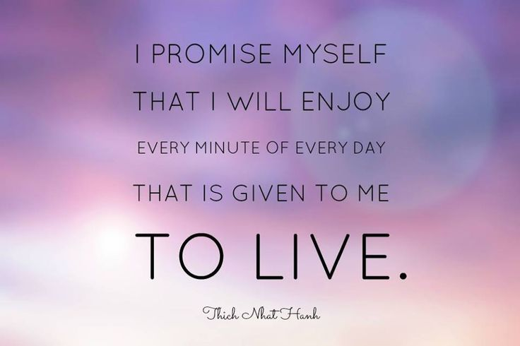 I promise myself that I will enjoy every minute of everyday that is given to me to live. - Thich Nhat Hanh