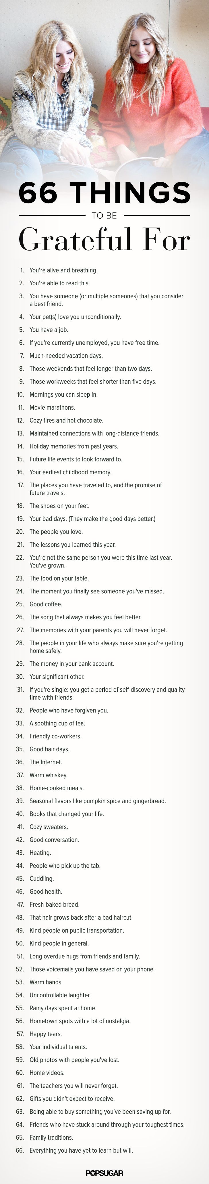 66 Things To Be Grateful For