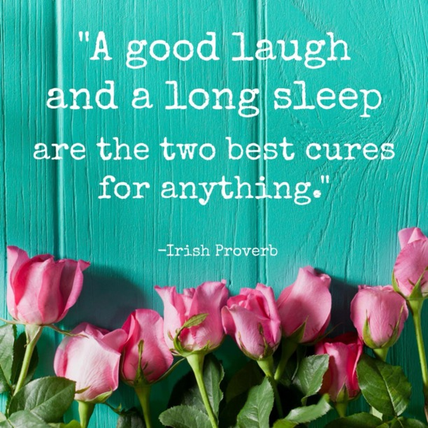 A good laugh and a long sleep are the two best cures for anything. - Irish Proverb