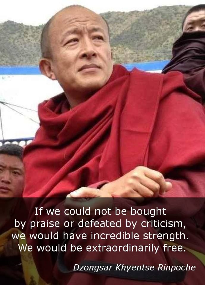 If we could not be bought by praise or defeated by criticism, we would have incredible strength. We would be extraordinarily free. - Dzongsar Khyentse Rinpoche