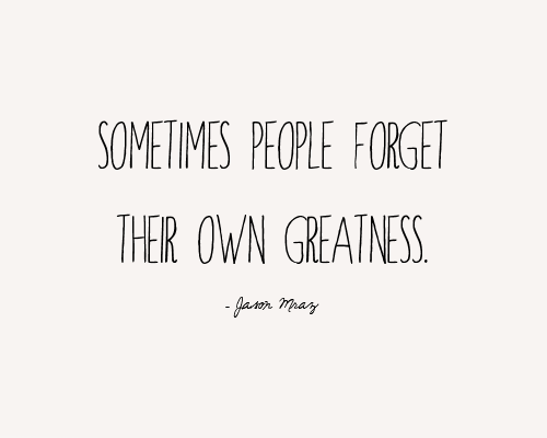 Sometimes people forget their own greatness. - Jason Mraz
