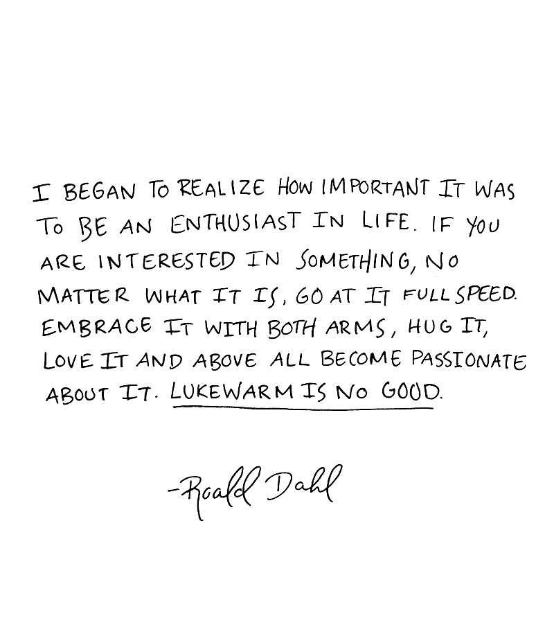 I began to realize how important it was to be an enthusiast in life. If you are interested in something, no matter what it is, go at it full speed. Embrace it with both arms, hug it, love it and above all become passionate about it. Lukewarm is no good. - Roald Dahl