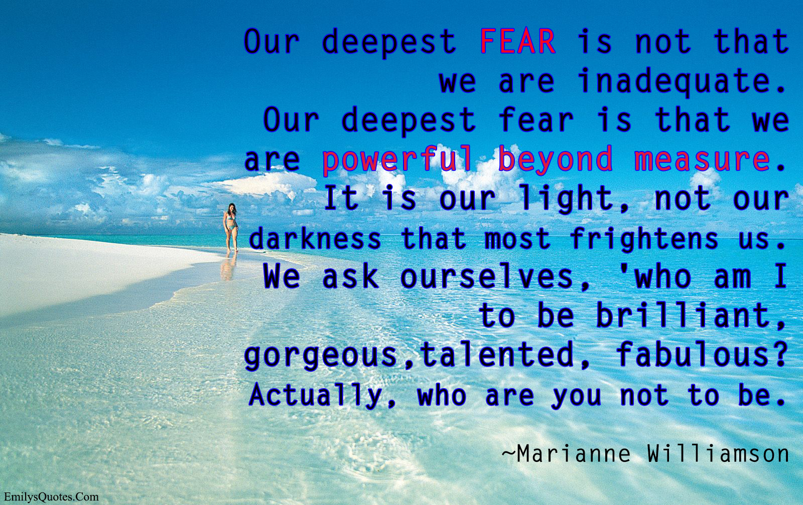 Our Deepest Fear Marianne Williamson Daily Quotes Sayings Pictures