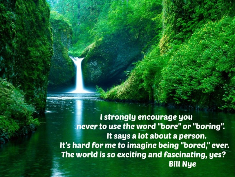 """I strongly encourage you never to use the word """"bore"""" or """"boring"""". It says a lot about a person. It's hard for me to imagine being """"bored,"""" ever. The world is so exciting and fascinating, yes? - Bill Nye"""