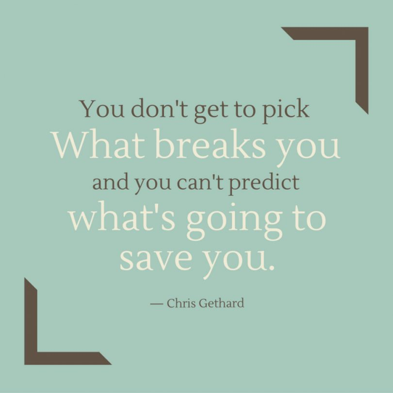 You don't get to pick what breaks you, and you can't predict what's going to save you. - Chris Gethard