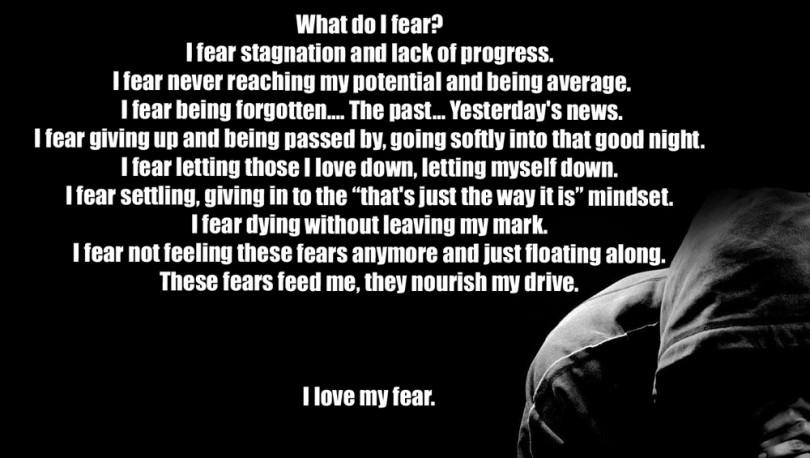 """What do I fear? I fear stagnation and lack of progress. I fear never reaching my potential and being average. I fear being forgotten.... the past... yesterday's news. I fear giving up and being passed by, going softly into that good night. I fear letting those I love down, letting myself down. I fear settling, giving in to the """"that's just the way it is"""" mindset. I fear dying without leaving my mark. I fear not feeling these fears anymore and just floating along. These fears feed me, they nourish my drive. I love my fear."""