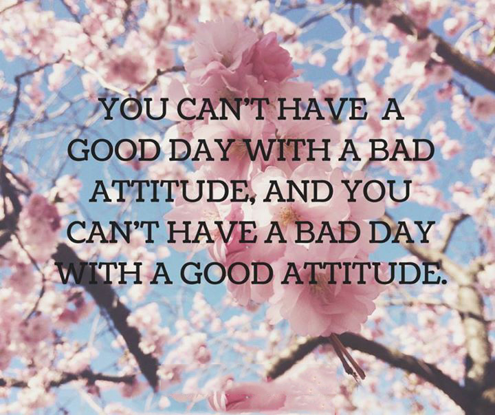 You can't have a good day with a bad attitude, and you can't have a bad day with a good attitude.