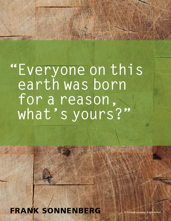 Everyone on this earth was born for a reason, what's yours? - Frank Sonnenberg