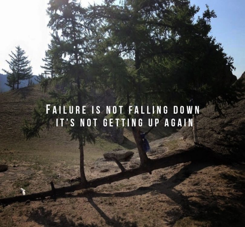 Failure is not falling down, it's not getting up again.