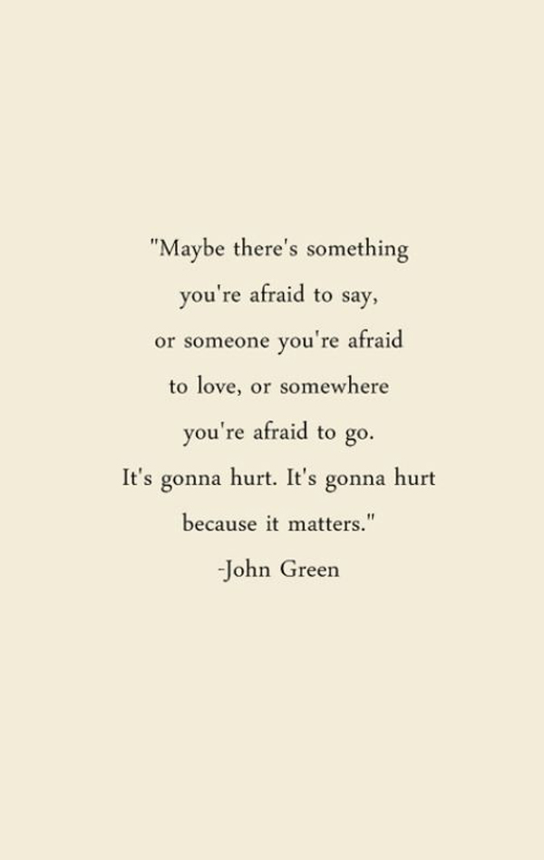 Maybe there's something you're afraid to say, or someone you're afraid to love, or somewhere you're afraid to go. It's gonna hurt, it's gonna hurt because it matters. – John Green