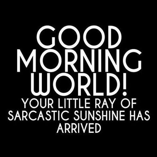 Sarcastic Sunshine Funny Good Morning Quotes