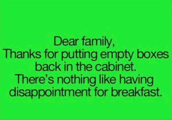 Late for breakfast family quotes.