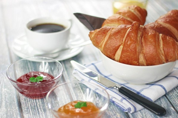 good morning photos croissants jam