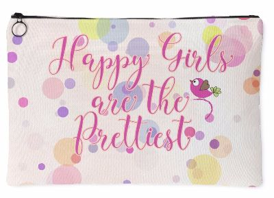 'Happy Girls are the Prettiest' Quote Pink Pouch