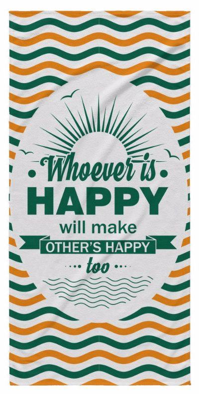 'Whoever Is Happy, Will Make Others Happy Too' Beautiful Smile Quotes Yellow Beach Towel