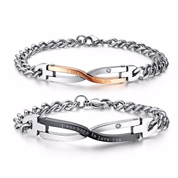 'I was born to love you' Love Quotes Couple Bracelets