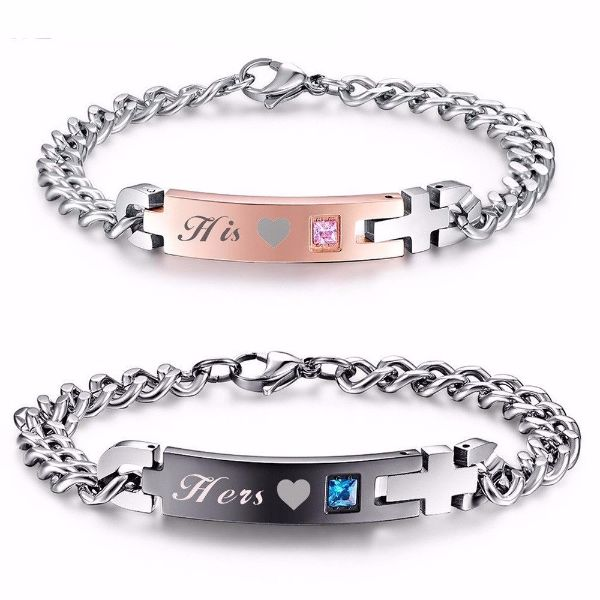 'His' and 'Hers' Couple Chain Bracelets