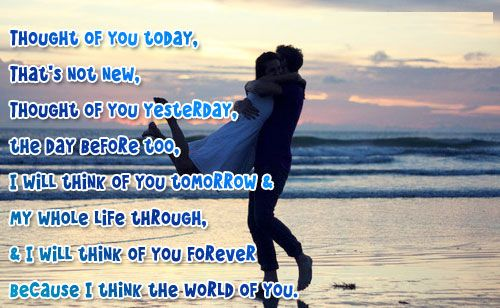 Thought of You Today and Tomorrow Love Quotes for Her