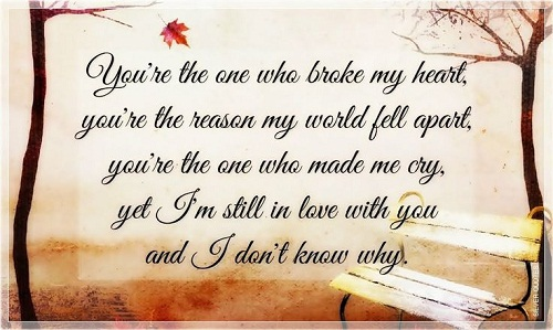 Broke my Heart Love Quotes for Her